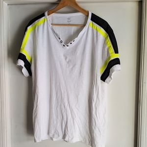 White shirt with stripped shoulder